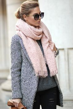 light pink scarf & charcoal gray black and white coat Sheinside coat