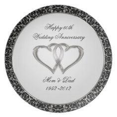 Shop Wedding Anniversary Plate created by Digitalbcon. 60th Anniversary Gifts, 25th Wedding Anniversary, Diamond Anniversary, Wedding Color Schemes, Wedding Colors, Photo Shelf, Custom Plates, Plate Design, Color Themes