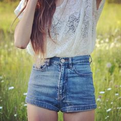 lace tops, cloth, high waisted shorts, summer outfits, denim shorts, shirt