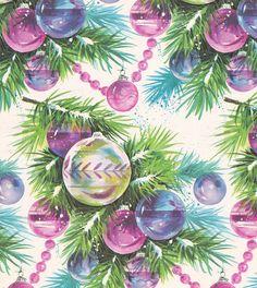 Vintage Christmas Wrap 1960s Ornaments