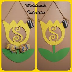 Hey, I found this really awesome Etsy listing at https://www.etsy.com/listing/224861577/metal-monogram-spring-tulip-door-hanger