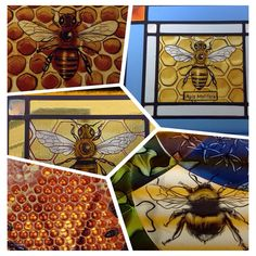 Stained glass honey bees and bumble bees