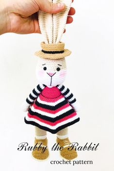 This beautiful amigurumi bunny pattern contains detailed instructions and photos tutorials to guide you through the process of creating the bunny and the outfit. Crochet step-by-step pattern for beginners Crochet Bunny Pattern, Crochet Animal Patterns, Crochet Patterns Amigurumi, Stuffed Animal Patterns, Crochet Dolls, Free Crochet, Crochet Animals, Holiday Crochet, Bunny Toys