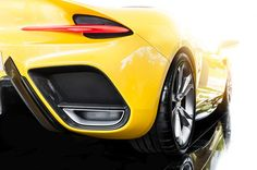 Back of a yellow sport car Premium Photo Red Sports Car, Drifting Cars, Big Wheel, Car Wheels, Dark Backgrounds, Alloy Wheel, Gray Background, Car Ins, Car Parking