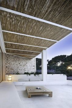 Concrete Terrace, shaded, low maintenance.  requires an amazing view off to the right.