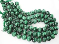 Gemstone Beads, Malachite Smooth Round (Quality D) / 12.50 to 14.50 mm / 36 cm / MA-023 by beadsogemstone on Etsy #gemstone #jewelrymaking #malachitebeads