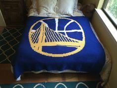 Golden State Warriors Blanket Completed https://www.etsy.com/listing/237551691/golden-state-warriors-nba-crochet-afghan