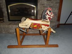 Vintage Mighty Mustang Wooden Kids Rocking Bouncy Horse Play Riding Toy