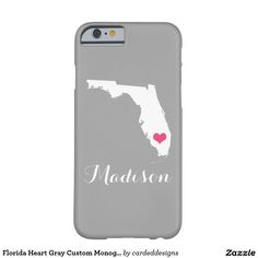 Florida Heart Gray Custom Monogram Barely There iPhone 6 Case