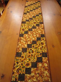 Quilted Table Runner Sunflowers and Leaves by PatchworkMountain