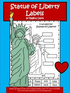 Here are two printable sheets for your students to use for labeling a the Statue of Liberty. You can choose whether to have your students cut and glue the labels, or write the labels in the boxes. This could be used when teaching about American symbols. Kindergarten Social Studies, 5th Grade Social Studies, Social Studies Activities, Kindergarten Lessons, Writing Activities, Liberty Kids, American Symbols, American History, National Symbols