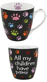 All My Children Have Paws Mug at The Animal Rescue Site - aww! Pottery Painting, Ceramic Painting, Color Me Mine, Paint Your Own Pottery, Animal Rescue Site, Paws And Claws, Cat Mug, Animal Projects, Hand Painted Ceramics