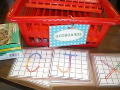 Students choose a letter template and try to replicate it using geoboards and elastic bands.