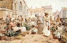 Flower Market in a French Town by Alfred Glendening. #classic #art #painting