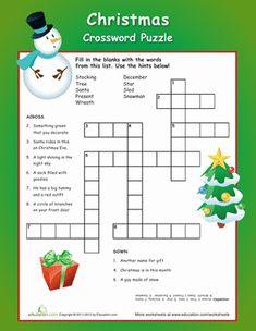 Christmas Third Grade Puzzles & Sudoku Handwriting Worksheets: Christmas Crossword Puzzle