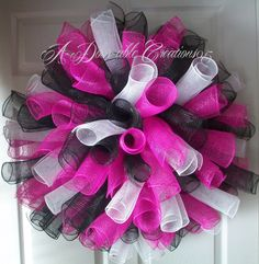 Deco Mesh Wreath Instructions   Hot Pink Black & White Spiral Deco Mesh by ADoorableCreations05