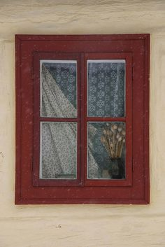 Slovakian window with lace curtains Old Windows, Windows And Doors, Cottage Windows, Old Cottage, Shutter Doors, Unique Doors, Lace Curtains, Window Dressings, Window Styles
