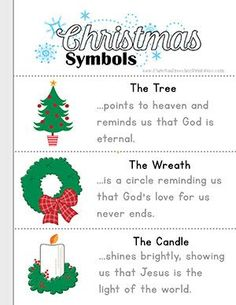 Free Symbols of Christmas Bible Printables for Kids. Christmas Tree, Wreath, Candle, Presents, Cross, Holly, Baby Jesus, Gifts, Stars and more