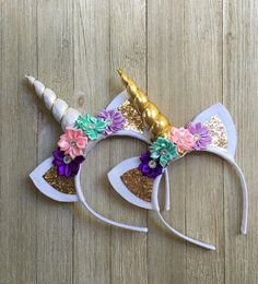 The perfect gift for the magical unicorn lover in your life. This Unicorn headband is perfect for all ages and is sure to bring a smile to to her face. The headband is made with your choice of a white horn with gold ribbon, gold horn or silver horn with gold or silver glitter fabric for