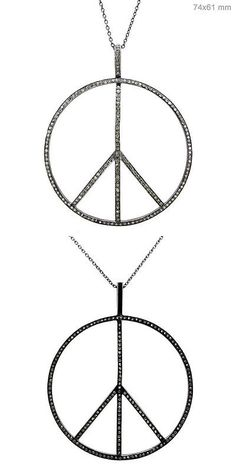 Necklaces and Pendants 52600: Designer 1.90 Ct Natural Diamond Pave Sterling Silver Peace Sign Pendant Jewelry BUY IT NOW ONLY: $525.0