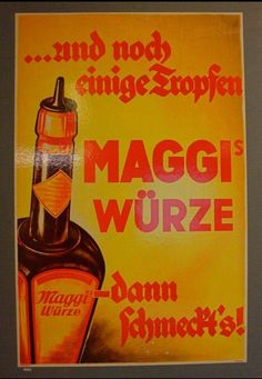 Another old Maggi Liquid Seasoning poster in the Maggi factory's collection. Vintage Advertisements, Vintage Ads, Whiskey Bottle, Advertising, Retro, Printables, Posters, Holiday, Collection