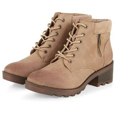 Light Brown Lace Up Zip Side Boots ($42) ❤ liked on Polyvore featuring shoes, boots, ankle booties, scarpe, brown, zipper booties, round toe boots, lace up booties, brown boots and brown ankle booties