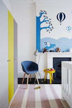 Baby Nursery - Kids Room - Notting Hill - Modern Townhouse - Home Design Interior Design Inspiration, Home Interior Design, Room Inspiration, Design Ideas, Yellow Side Table, Scandinavian Kids Rooms, Passion Deco, Decoracion Vintage Chic, Kids Room Design