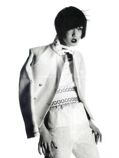 Model: So Young Kang (Marilyn)  Editorial: White Spirit  Magazine: (France) Madame Figaro, March 2012  Photographer: Pierre Even  Stylist: Virginie Mouzat  Hair: Unknown  Makeup: Unknown