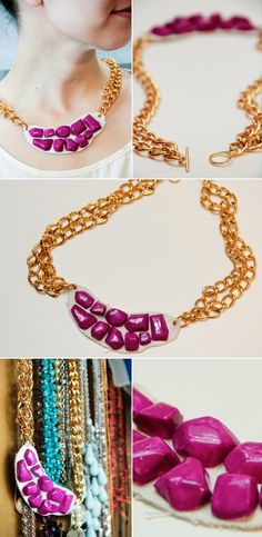 "diy chunky necklace (""jewels"" made from clay)"