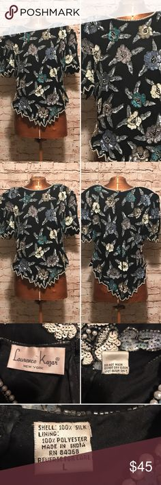"""Vintage 1980s Laurence Kazar Sequin Top CHEST SIZE: 38"""" WAIST SIZE: 32"""" HIP SIZE: 36"""" SHOULDER TO SHOULDER: 18"""" SHOULDER TO HEM: 18""""  MATERIALS: shell: 100% silk / lining 100% polyester  TAGS: Laurence Kazar New York  This top is in excellent vintage condition. There are no flaws to the fabric, and the sequins and pearls are in tact. The metal zipper is in good working condition. Vintage Tops"""