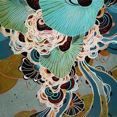 """""""Swirl"""" 12""""x12"""" Acrylic on wood - Yellena James"""