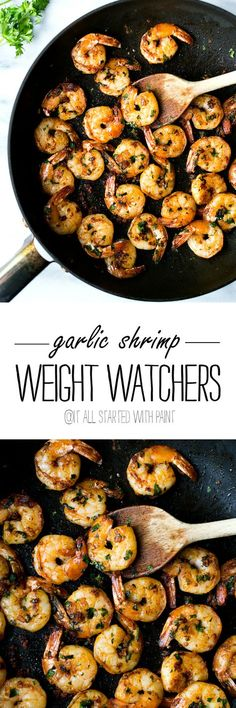 Healthy Weight Weight Watchers Garlic Shrimp Recipe - 2 Point Weight Watchers Dinner Recipe - @ It All Started With Paint - Weight Watchers garlic shrimp recipe is only 2 points per serving. Delicious and easy-to-make Weight Watchers dinner idea. Ww Recipes, Skinny Recipes, Fish Recipes, Seafood Recipes, Dinner Recipes, Cooking Recipes, Healthy Recipes, Recipies, Dinner Ideas