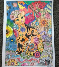 Artist page from Creative Cats coloring book