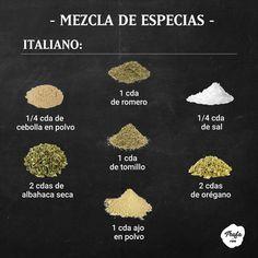 La comida italiana tiene ese qué se yo... condimento italiano se llama. Así podes hacerlo: Mexican Food Recipes, Real Food Recipes, Vegan Recipes, Yummy Food, Cooking Tips, Cooking Recipes, Alcohol Recipes, Culinary Arts, Food Photography