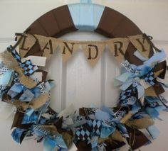 Burlap Banner Baby Ribbon Wreath with Burlap Accents in Chocolate Browns & Blues  for Hospital Door Hanger, baby shower, birthday party, $83.0