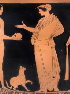 Very very rare depiction of a domestic cat in Greek/South Italian art 380 BC Ancient Greek Art, Ancient Greece, Ancient History, Art History, Maurice Careme, Greece Art, Empire Romain, Greek Pottery, Pottery Painting