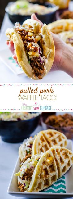 Pulled Pork Waffle Tacos with Pineapple Slaw #SundaySupper