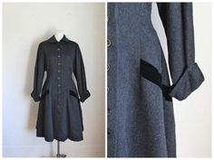 vintage 1940s princess coat  ANGELO gray wool swing coat by MsTips