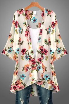Spring floral kimono that features a vibrant floral print in pink, blue, turquoi. Look Fashion, Fashion Outfits, Womens Fashion, Retro Fashion, Free People Clothing, Clothes For Women, Pretty Outfits, Cute Outfits, Emo Outfits
