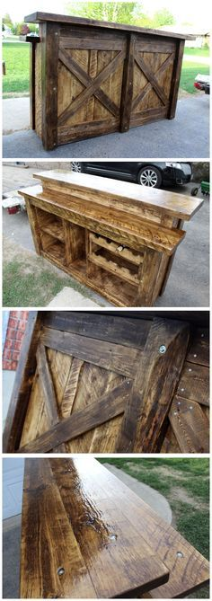 Custom barn wood bar. Finished in crystal clear epoxy. Rustic theme with visible anchor bolts. Listed at $2500