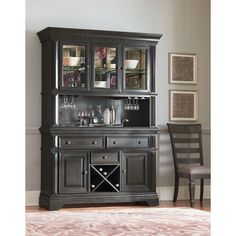 Features:  -Lighted open deck hutch.  -Tempered mirror back behind glass doors and a hanging wine glass rack.  -Burnished grey wood finish.  Material: -Manufactured wood/Other. Dimensions:  Overall He
