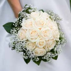 traditional bridal bouquets with white roses and baby's breath | white rose bridal bouquet with baby's breath