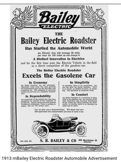 1913 Bailey Electric Roadster Cars Vehicle May 5 Baileys Automobile