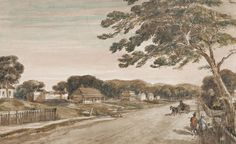 Charles Dirck Wittenoom's historically significant sketch of St Georges Terrace. Perth Western Australia, Saint George, Flora And Fauna, Historical Photos, Geography, Westerns, History, Painting, Terrace
