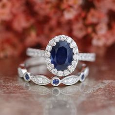 Blue Sapphire Engagement Ring and Bezel Scalloped Diamond Wedding Ring Bridal Set in 14k White Gold Oval Cut Gemstone Ring Set