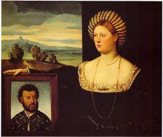 Bernardino Licinio (1489–1565) A wife with her husband's portrait Italiano: Ritratto di donna che regge l'effigie del defunto Date16th century Mediumoil Current locationBergamo, Private coll - Castello Sforzecso[