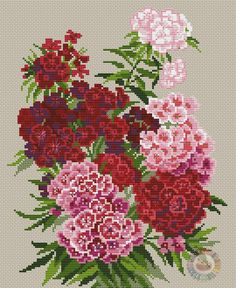 Sweet William by Riolis, counted cross stitch kit Ribbon Embroidery, Cross Stitch Embroidery, Cross Stitching, Embroidery Patterns, Cross Stitch Heart, Counted Cross Stitch Kits, Cross Stitch Flowers, Cross Stitch Designs, Cross Stitch Patterns