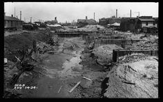 A view of the the Stockyards Slip, which connected the Stockyards to the South Fork of the South Branch of the Chicago River, in 1924.