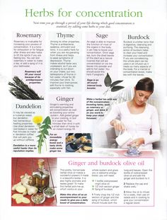 Herbs for concentration Herbal Remedies, Natural Home Remedies, Health Remedies, Natural Medicine, Herbal Medicine, Natural Healing, Holistic Healing, Healing Herbs, Apothecaries
