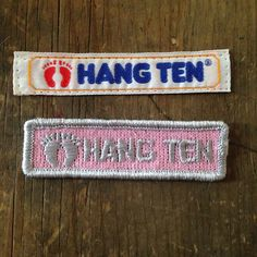 2 Vintage Hang Ten Sewing Labels Tags Embroidered Patch Bare Feet Surfer 1980s